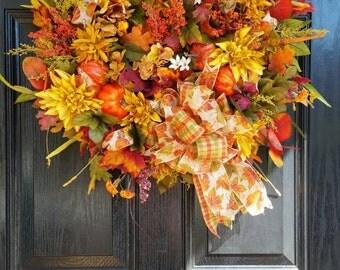 Large Elegant Grapevine Wreath Autumn Fall Silk Flowers Door Wreath Wedding Wreath Floral Arrangement Tuscan Decor