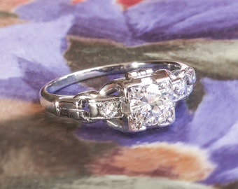 SOLD----Installment 4 Due 7/15----Vintage Diamond Engagement Ring Art Deco 1930's Old Transitional Cut Diamond Ring 18k White Gold