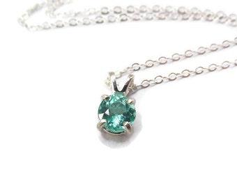 Blue Apatite Necklace - Teal Gemstone Necklace - Natural Apatite Jewelry - Apatite Necklace - Sterling Silver Apatite Necklace