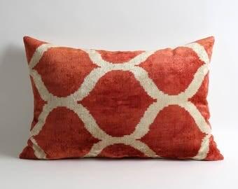 Red velvet pillow cover Handwoven silk velvet ikat Terra Cotta Velvet lumbar pillow case