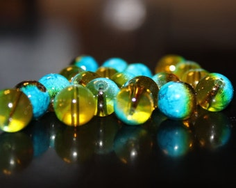 20 glass beads, 10 mm, round and smooth, transparent baking painted, hole 1 mm, gold and aqua