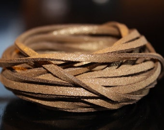 5yds faux suede cord, brown with gold speckles, about 3 mm wide, 15 ft cord