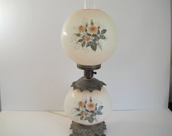 Double Hurricane Lamp with Pink Roses  3 way switch