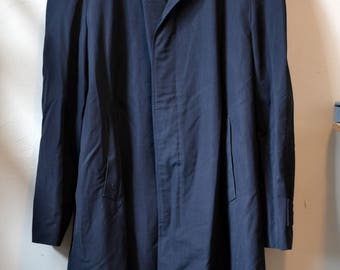 Vintage BROOKS BROTHERS Black Single Breasted Polyester/Wool Blend Topcoat Approximately Size 46/48 Made in Denmark