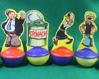 Vintage Rare Knickerbocker complete set of six Lithograph Popeye characters Roly Poly Targets