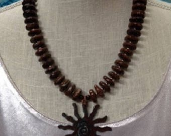 Crysocolla necklace with rustic sunburst pendant