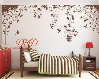 Nursery decal Vinyl Wall Decal Nature Design Tree Wall Decals Chrildren's wall decals Wall stickers Vines Wall Decals birdcage birds-DK283