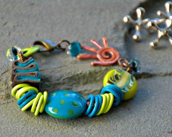 boho style, mixed media art you can wear, blue and green, wire wrapped assemblage, jazz hands bracelet