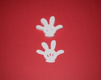 "80 (2"" Tall) White Mickey Mouse Gloves Birthday Confetti Party Die Cut Pants Cricut Minnie"