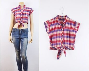 Plaid Crop Top // 70s vintage INDIAN gauze Boho Hippie shirt Indie Hipster 1970s vtg Deadstock India cropped top XS Small