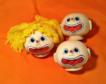 "Set of 3 Cabbage Patch Kid Doll Heads - Girl & Boy Clowns - 1984 Fibre Craft ""Funny Baby"" Circus"