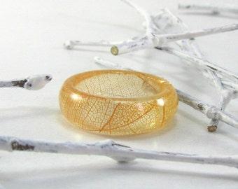 Amber Skeleton Leaf Resin Ring Real Leaf Resin Ring Amber Plant Resin Ring Botanic Resin Ring Eco Resin Ring Band Resin Ring Real Leaf Ring