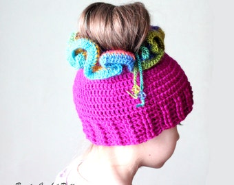 Messy Bun Crochet Hat Pattern, Crochet Ponytail Hat Pattern, Crochet Hat Ponytail Pattern, Ponytail Beanie Pattern, Bun Hat Pattern
