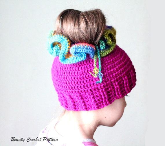 Crochet Patterns Messy Bun Hat : Messy Bun Crochet Hat Pattern, Crochet Ponytail Hat Pattern, Crochet ...