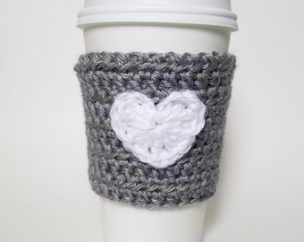 Heart Cozy, Crochet Coffee Cozy, Valentine's Cozy, Eco-Friendly, Fashion Accessory, Gift