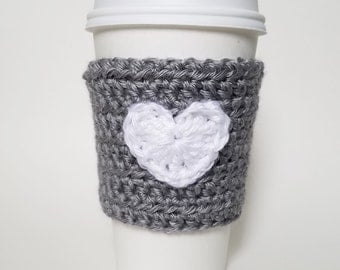 SALE Heart Crochet Coffee Cozy, Valentine's Cozy, Eco-Friendly