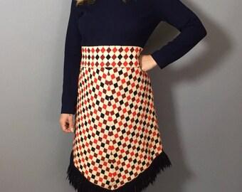 1960s Dress / Long Sleeve Dress / Winter Dress / Afghan Dress / Funky Vintage Dress / Mad Men Dress / 60s Dress Medium / 60s Dress