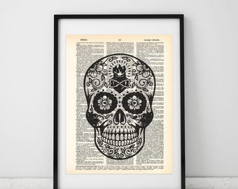 Mexican Skull Dictionary art print - Upcycled dictionary art - Book print page art #065