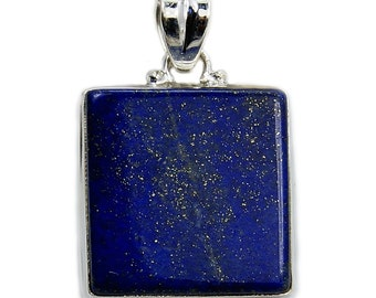 Lapis Lazuli Pendant Sterling Silver Pendant Lapis Lazuli Necklace Lapis Silver Chain Lapis Leather Cord AE209 Jewelry