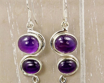 Amethyst Earrings Protection Stone Sterling Silver Dangle Earrings Purple Earrings Gemstone Earrings AE955 The Silver Plaza