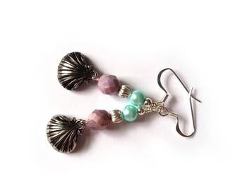 Little Mermaid Inspired Princess Ariel Glass Pearl Earrings