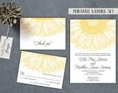 "Printable ""Elise"" Wedding Invitation -  Yellow Farm Invitation, Summer Sunflower Invite, Gold Farm Invite, template / DIY files"