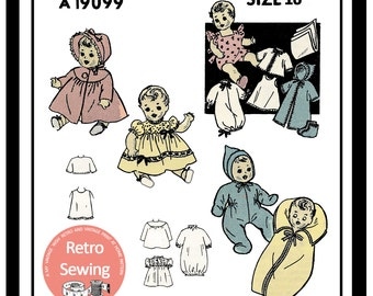 "1950s 16"" Baby Doll Clothes Sewing Pattern -  PDF Sewing Pattern Instant Download"
