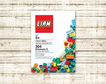 """Lego Birthday Invitation, Custom made, digital pdf or jpg, 5x7"""""""