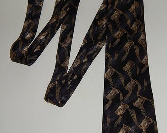 "56"" Albert Nipon Silk Black Gray Gold Mens Necktie Neck Tie"