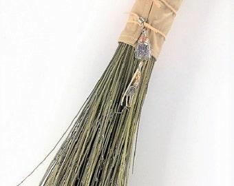Besom Broom, Wedding Broom, Hearth Broom, Handmade Broom, Ceremonial Broom, Witches Broom, Decorative Broom, Lavender, Curly Willow