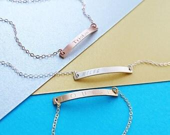 Personalised Skinny Bar Bracelet - 14k Gold Fill, Rose Gold Fill, Sterling Silver, Personalised Bracelet, Gift For Her