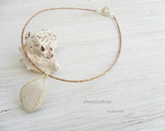 Sea stone necklace, pendant wire crochet, made in Italy, Sardinia, handcrafted jewelry, Italian jewelry, stone pendant
