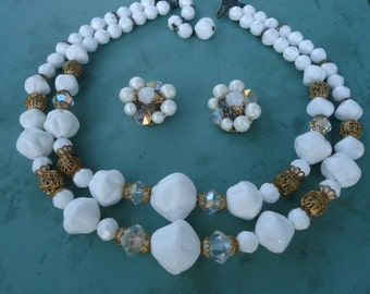 Vintage White Beaded Necklace with Matching Earrings