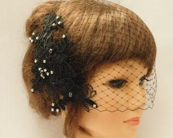 Birdcage veil Wedding  hairpiece BLACK birdcage veil, WHITE IVORY Vintage inspired bridal accessory lace fascinator,crystal Rhinestone,pearl