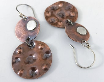 Palette earrings. Large circle earrings, sterling silver accents, Modern anticlastic mixed metal copper, rustic, handmade artisan