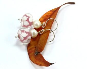 Everyday Earrings, Beaded Earrings, Pink Dangle Earrings, Sterling Silver Earrings, Freswater Pearl Earrings, Simple Earrings, PinkEarrings