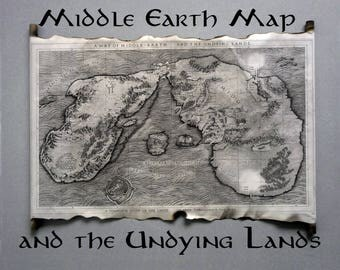 Map Of Middle Earth And The Undying Lands Scroll, Lord Of The Rings Map, The Hobbit Map, on Handmade Scroll