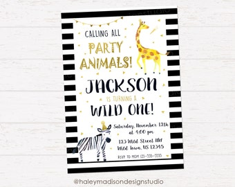 Party Animal Invitation, Animals Invitation, Wild Animal invitation, Wild one, gold and black DIGITAL FILE