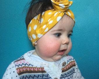 Yellow Polka Dot Baby Wire Headband