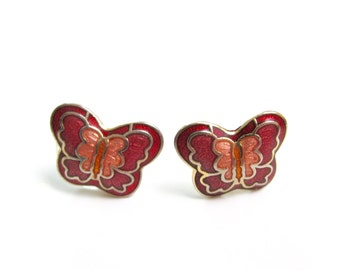 Butterfly Kisses | Vintage Cloisonne Butterfly Earrings Butterfly Earrings Stud Earrings Maroon Butterfly Earrings Vintage Stud Earrings