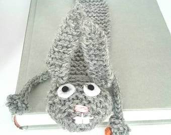 Bunny bookmark; knitted bunny bookmark;  animal bookmark;  unique bookmark;  fun bookmark; bookmark for kids; children's bookmark
