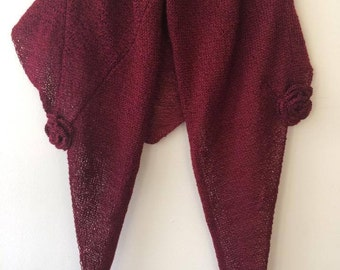 Shawl, Rose Detail, Knitted, Cape, Wrap, Burgundy Made in Ireland Ladies Gift soft and cosy