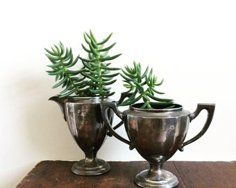RESERVED Vintage silverware art deco trophy jug and creamer tarnished silver