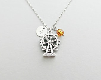 Ferris Wheel Initial Necklace Personalized Hand Stamped - with Silver Ferris Wheel Charm and Swarovski