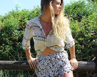 Summer Festival SHORTS, floral DAISY print, Bloomers, high waisted