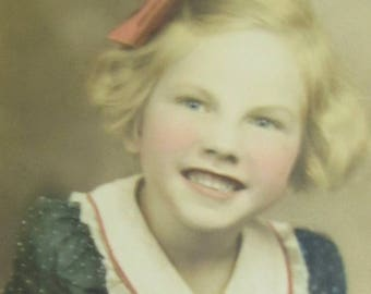 Cute 1940's Little Girl With Golden Smile Hand Colored 5 x 7  Studio Photograph - Free Shipping