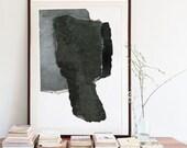 Urban Wall Art, Black and White Modern Art Poster, Large Giclee Fine Art Print, Textured Painting Print