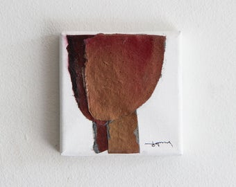 4x4, Modern Miniature Art on Canvas, Tiny Collage in metallic red and gold, 10x10cm, Art Gift