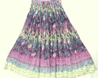Vintage Indian Cotton Gauze Phool Maxi Skirt. Pink Purple Gray Green Hand Printed Semi Sheer Cotton. Elastic Waist. Size M L