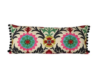 READY TO SHIP - 11x27 Santa Maria pillow with black pom poms on ends (cover + insert)